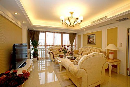 美式黄色客厅装饰图