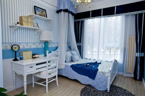 地中海蓝色浪漫卧室效果图设计