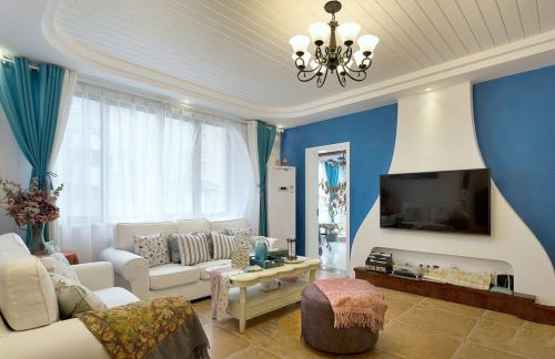 现代风格质感蓝色客厅背景墙